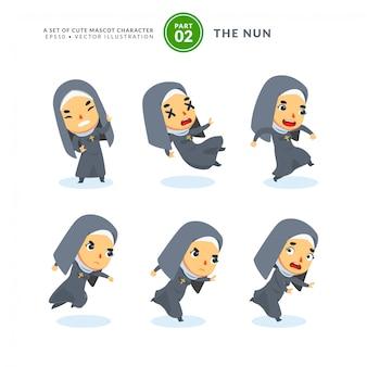 Conjunto de vetores de imagens dos desenhos animados de uma freira. segundo conjunto. isolado