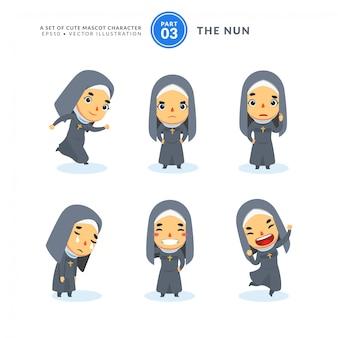 Conjunto de vetores de imagens dos desenhos animados de uma freira. terceiro conjunto. isolado
