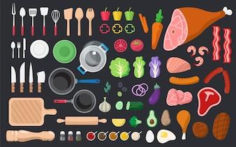 Conjunto de vetores de ingredientes e ferramentas de cozinha