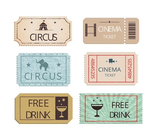 Conjunto de vetores de ingressos para festa e circo de cinema vintage mostrando ingressos perfurados com ícones representando um elefante de bebida grátis e o big top com dois ingressos de bebida grátis para refrescos