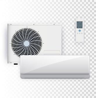 Conjunto de vetores de instalação de ar condicionado em fundo transparente