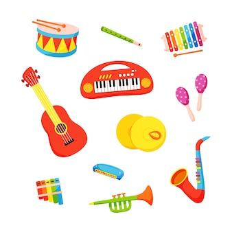 Conjunto de vetores de instrumentos musicais infantis desenhados à mão em estilo cartoon