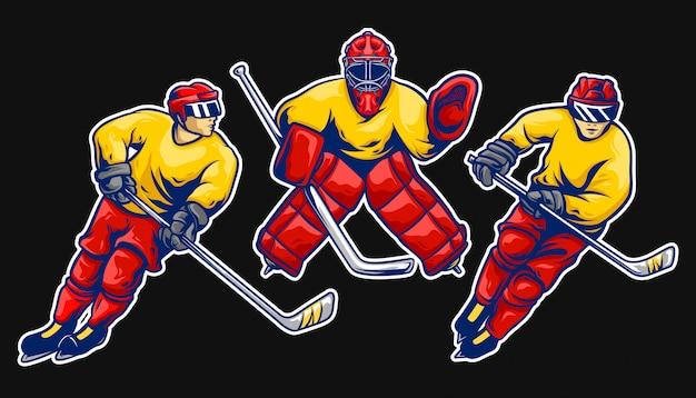 Conjunto de vetores de jogador de hóquei no gelo