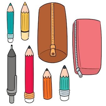 Conjunto de vetores de lápis e estojo