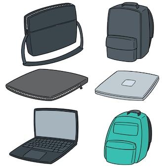 Conjunto de vetores de laptop e bolsa de laptop