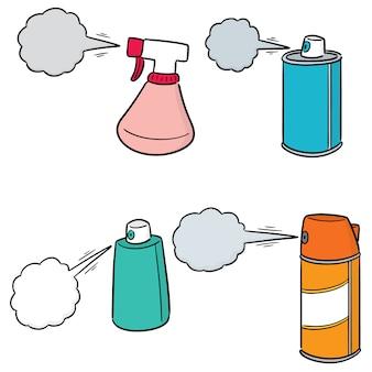 Conjunto de vetores de lata de spray e garrafa