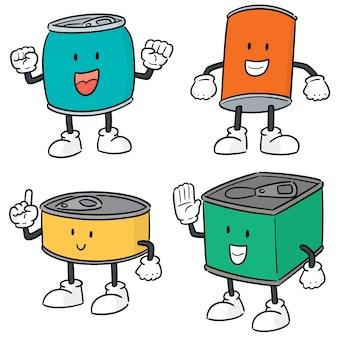 Conjunto de vetores de lata dos desenhos animados