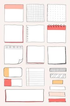 Conjunto de vetores de lembretes em branco