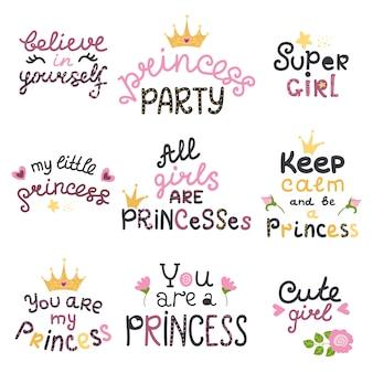 Conjunto de vetores de letras com frases de princesa fofos