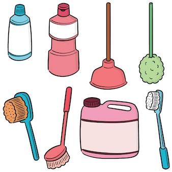 Conjunto de vetores de limpador de banheiro