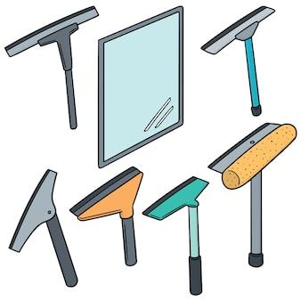 Conjunto de vetores de limpador de vidro e espelho