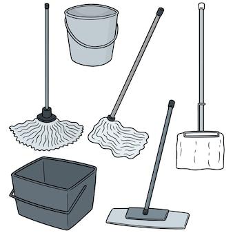 Conjunto de vetores de limpeza esfregão