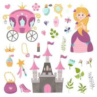 Conjunto de vetores de linda princesa, castelo, transporte e acessórios.