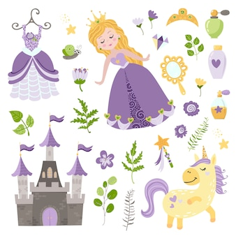 Conjunto de vetores de linda princesa, castelo, unicórnio e acessórios