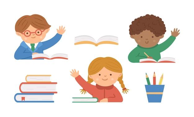 Conjunto de vetores de lindos alunos felizes com a mão levantada e livros
