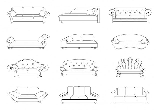 Conjunto de vetores de lineart de sofá. coleção de ilustração de sofá. estoque vector. livro de colorir.