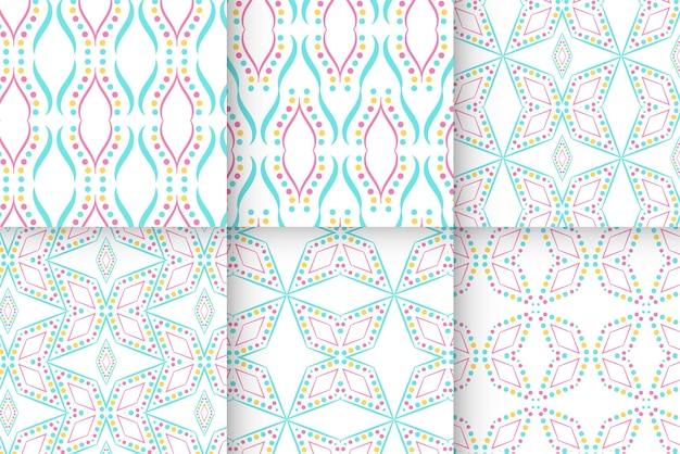 Conjunto de vetores de linha pontilhada de padrões sem emenda