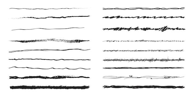 Conjunto de vetores de linhas desenhadas a mão, isolado no fundo branco. coleção de modelos de linhas de doodle
