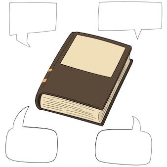 Conjunto de vetores de livro e discurso bolha