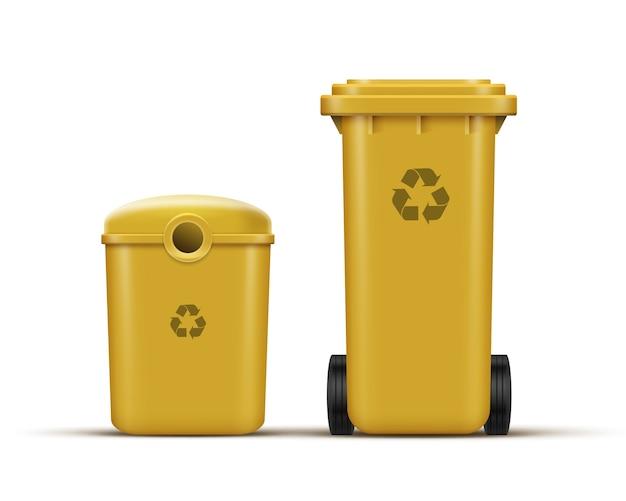 Conjunto de vetores de lixeiras amarelas para reciclagem de lixo plástico