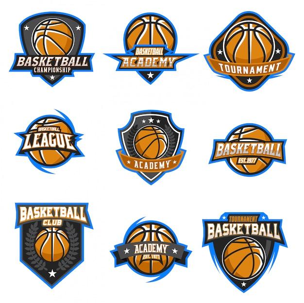 Conjunto de vetores de logotipo de basquete