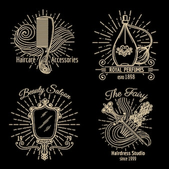 Conjunto de vetores de logotipo de beleza e cuidados. care beauty, logo spa, fashion label, haircare e logo ilustração haircare
