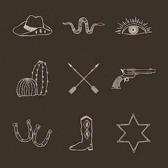 Conjunto de vetores de logotipo de cowboy desenhado à mão