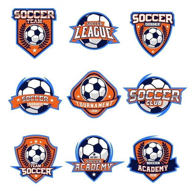 Conjunto de vetores de logotipo de futebol