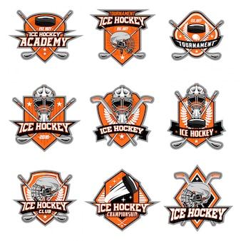 Conjunto de vetores de logotipo de hóquei no gelo