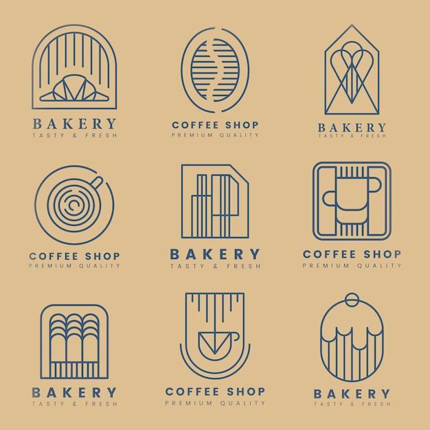 Conjunto de vetores de logotipo de loja de café e pastelaria