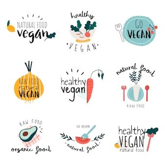 Conjunto de vetores de logotipo vegan saudável