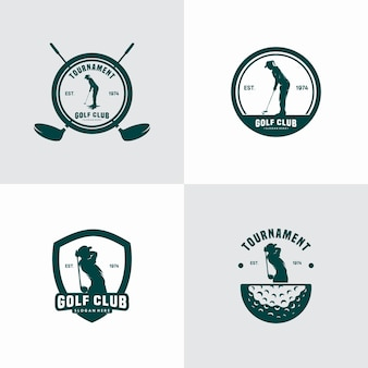 Conjunto de vetores de logotipos vintage para clube de golfe
