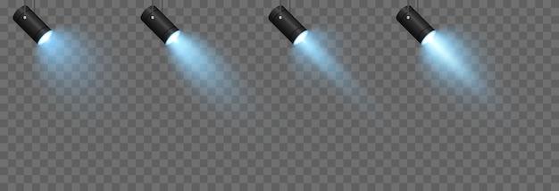 Conjunto de vetores de luz fonte de luz de parede de iluminação de estúdio png luz azul iluminação pontual