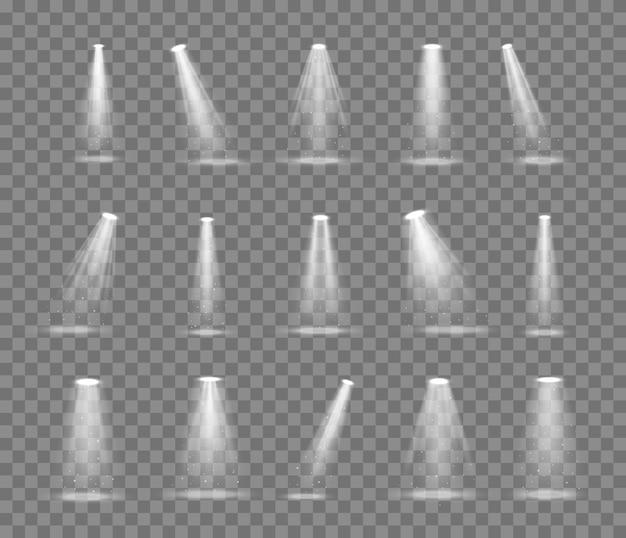 Conjunto de vetores de luz iluminação de estúdio de fonte de luz.