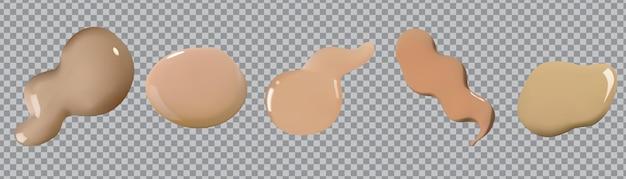 Conjunto de vetores de manchas de corretivo esfregaço de manchas de creme líquido cosmético isolado em transparente