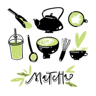 Conjunto de vetores de mão desenhada chá verde matcha.