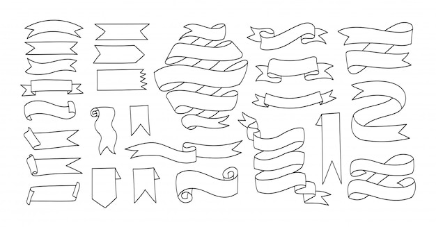 Conjunto de vetores de mão desenhada contorno banners e fitas