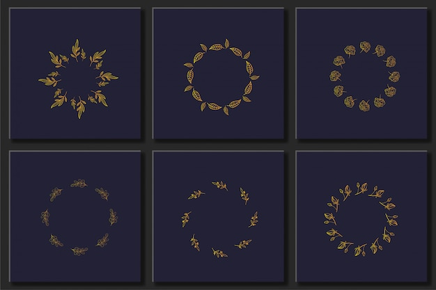 Conjunto de vetores de mão desenhada floral quadros