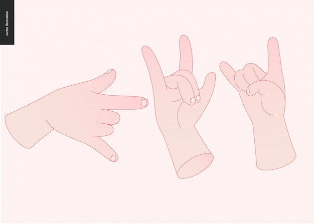 Conjunto de vetores de mãos