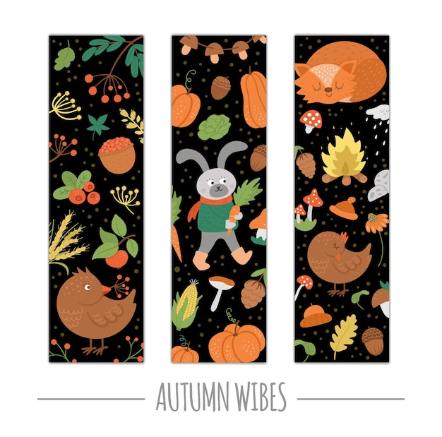 Conjunto de vetores de marcadores de outono com animais, plantas, abóboras. cartões verticais engraçados do outono