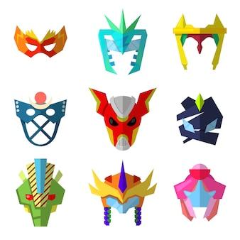 Conjunto de vetores de máscaras de super-herói para personagens