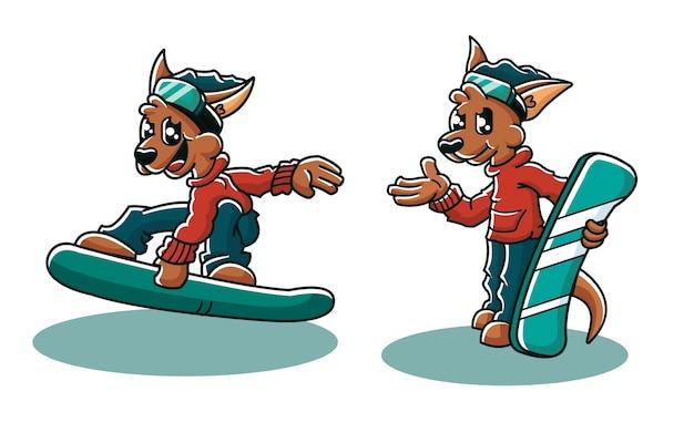 Conjunto de vetores de mascote canguru