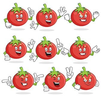 Conjunto de vetores de mascote de tomate