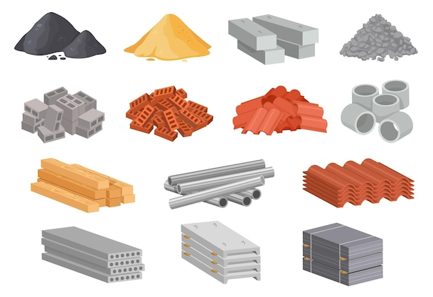 Conjunto de vetores de materiais de construção industrial de materiais de construção de casa de desenho animado