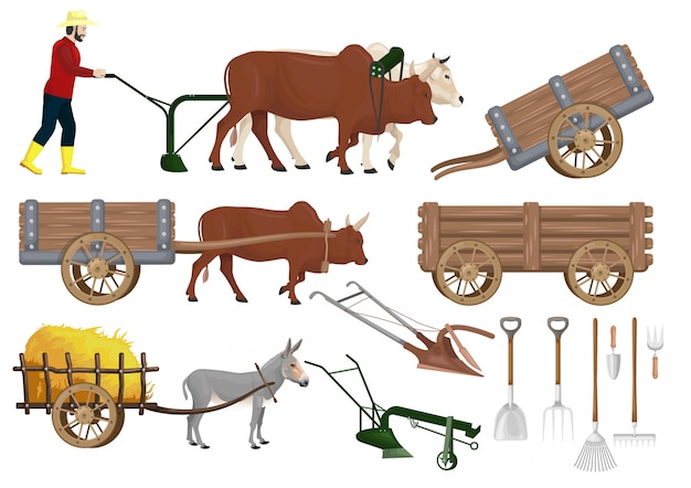 Conjunto de vetores de material de fazenda tradicional