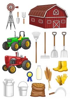 Conjunto de vetores de material de fazenda