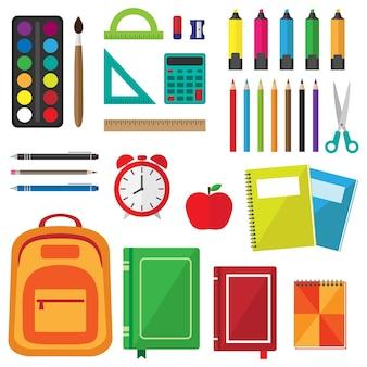 Conjunto de vetores de material escolar