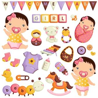 Conjunto de vetores de menina bebê