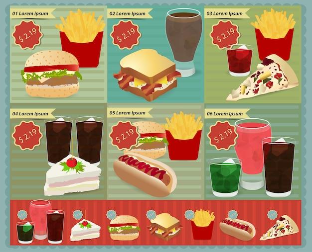 Conjunto de vetores de menu de fast-food retrô