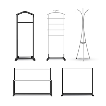 Conjunto de vetores de metal preto, cabideiros de madeira e carrinhos, vista frontal isolada no fundo branco